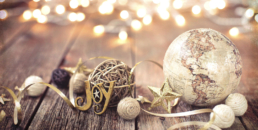 Globe ornament symbolizing navigating the holidays